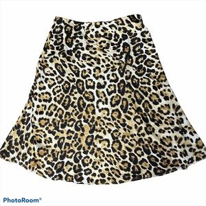Gilli animal print a-line midi skirt tan/black 0X